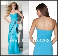 Custom made a line sweetheart floor length blue chiffon beaded pleated discount evening dresses 2013 fashion style
