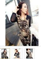 Free Shipping 2013 Hot Sale lady's fashion Tshirt long sleeve  tiger pattern 5pc/lot free size  2 color for choice