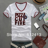 2013 summer hot men's short sleeve T-shirt, slim korean men's cotton T-shirt with M,L,XL,XXL SIZE