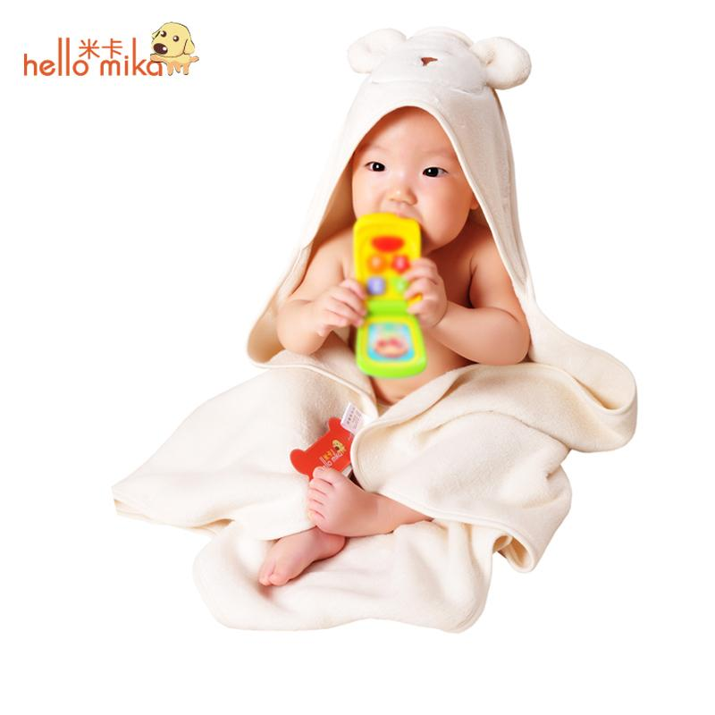 Mica hellomika organic cotton baby towel hooded newborn blankets holds autumn and winter thickening(China (Mainland))
