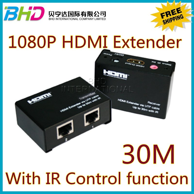 Lowest prices & Free shipping HDMI to RJ45 Extender Double cat5e/6 cable with IR 30m 1080P HDMI Extender(China (Mainland))