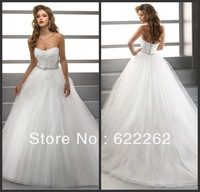 Luxury Noble Ball Gown Princess Sweetheart Unique Design White Organza Beads Embroidery Wedding Dress 2013 Bridal Gown