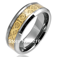 Gold Dragon Tunsten Carbide Ring Mens Jewelry Comfort Fit Wedding Band Size 7/8/9/10/11/12/13 Free Shipping