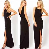 Wholesale summer new arrivals Back deep V fold side slit skirt vest black chiffon dress TH8889