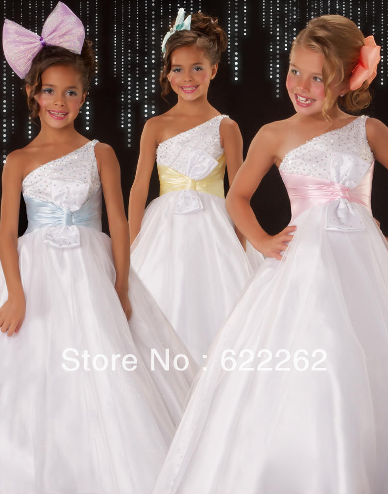 Pageant For Kids Princess One shoulder Sleeveless Floor-Length Crystal Flower Waist Organza Ball Gown Flower Girl Dress 2013(China (Mainland))