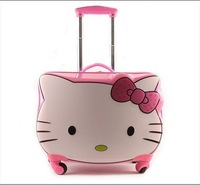 "Free Shipping Wholesale Retail Hello Kitty Pink Schoolbag Luggage  Trolley Case 18"" Cute Children's Luggage  Travel Luggage"