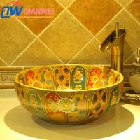 Jingdezhen ceramic art basin counter basin lavendered wash basin wash basin gold