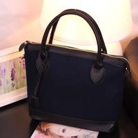 Handbag  color block smiley bag vintage all-match fashion blue big bag one shoulder
