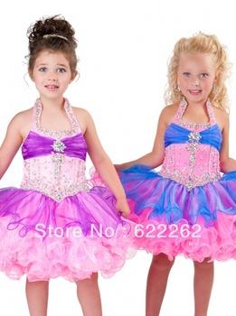 Little girl pageant a line halter mini short organza rhinestoe ruffles pleated flower girl dresses off the shoulder