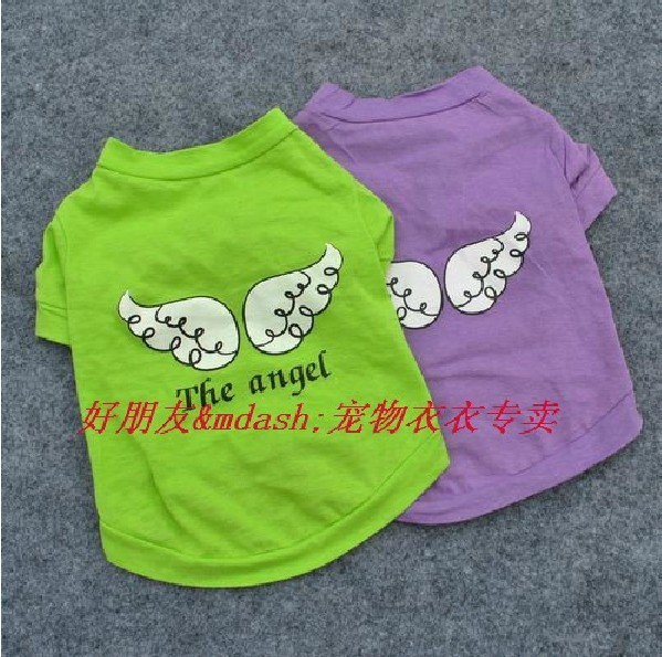 Free Shipping! NEW Summer Dog Pet T Shirts Clothes Cute 100% Cotton Angel Swing Apparel, Green Purple Color XS S M L Size,(China (Mainland))