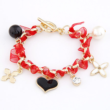 Min.$10(mix items) Free Shipping New Trendy Jewelry Gold Mental Wrist with Ribbon &amp; Heart Flower Charming Bracelet Summer Bangle(China (Mainland))
