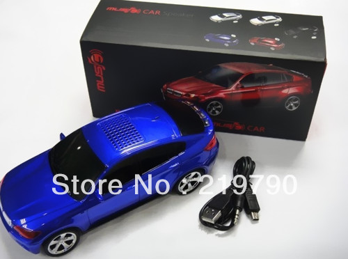 hot sale BMW X6 portable digital high fidelity mini car speaker ,support TF card/USB with FM 2pcs/lot free ship(China (Mainland))