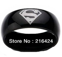 New Arrival Hot Selling Superman Print Black Tungsten Carbide Ring Men's Wedding Band Ring