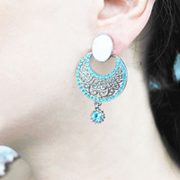 2013 New Fashion turquoise rhinestone alloy lace Earrings wholesale for FREE SHIPPING