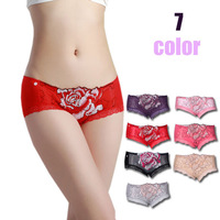 7 sexy seamless lace rose embroidery bamboo fibre panties women's 8005 week pants briefs