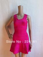 2013 fashion Yellow&Black&Red dress HL Sexy sleeveless Bandage Dress  Evening Dress Party Dress hot sale