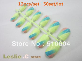 Free shipping-wholesale,13colors Full Cover Decoration Fashionable short flash powder false nail tips False Nail Art Tips