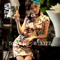 Harajuku ladies tops evening dress winter summer vintage chinese traditional style Top grade velvet silk qipao cheongsam 193