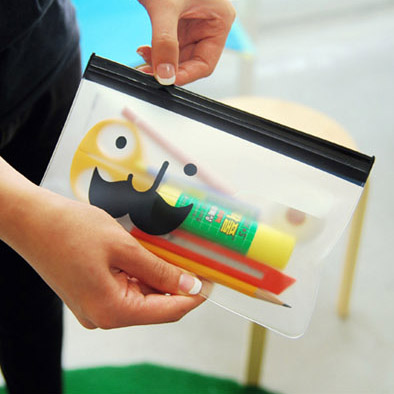 Wholesale -free shipping Smiley and mustache translucent edge bags pencil case bill and note bag storage bag 12pcs/set(China (Mainland))