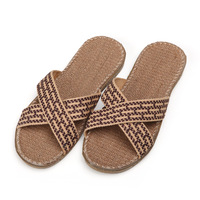 Linen slippers at home male antiperspirant slip-resistant cross ribbon slippers male summer slippers at home