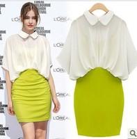 2013 summer fashion peter pan turn-down collar half sleeve chiffon faux two piece slim one-piece dress women's