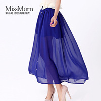 2013 summer single breasted perspectivity half-length chiffon  full solid color patchwork elegant a-line skirt