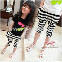 Wholesale 5pcs/lot korean style baby girls summer leggings kids stripe pants children's clothing harem pants