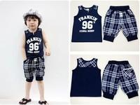 2013 Summer children sports suit baby boys shirt + striped shorts two-piece set children's clothing fashion kids letter 96 wear