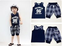 2013 Summer children sports suit baby boys shirt + striped shorts two-piece set children's clothing fashion kids letter 96 wear