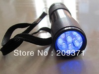10pcs/lot Free shipping Violet 9led scorpion light flashlight watermark fishing lamp uv lamp led purple light ultraviolet