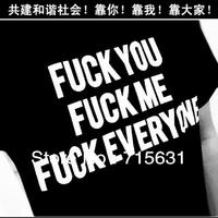 2014 Summer New design men's short sleeve t-shirt FUCK YOU FUCK ME tag fashion Casual cotton tee black white shirt