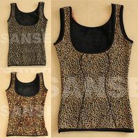 Women's leopard print plus velvet thickening thermal sleeveless sexy vest velvet slim underwear basic shirt