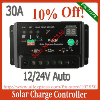 Reguladores livre de Shipping 30A PWM Solar Battery Painel controlador de carga , 12V 24V de trabalho Auto