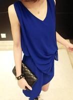 2013 women's V-neck ruffle chiffon skirt fashion personality irregular one-piece dress female