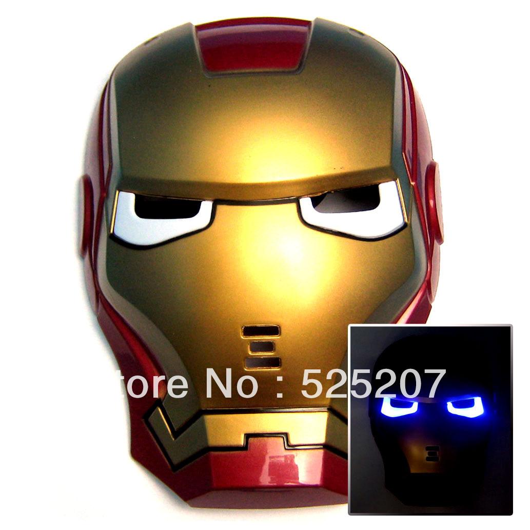 LED Luz de incandescência Iron Man Spider Man Máscaras herói Protecção Facial PVC Masquerade Halloween Party Aniversário(China (Mainland))