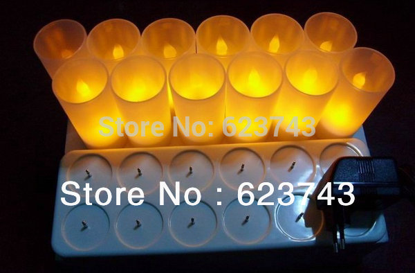 Free Shipping! Rechargeable Flameless LED Candle Light / 12 Yellow home Candle lamps,led gifts wholesales(China (Mainland))