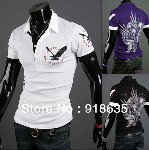 2013 new polo shirt Men&#39;s short-sleeved England eagle lapel T-shirt printing shirt men&#39;s short-sleeved polo shirts Free shipping(China (Mainland))