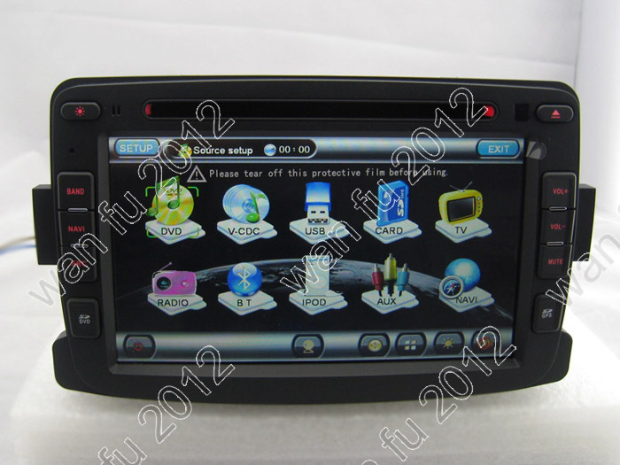 7&quot; Car DVD GPS touchscreen Player headunit auto radio with PIP Dual Zone Virtual 6 Disk GPS IPOD Renault Duster(China (Mainland))