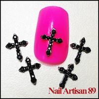 Alloy Black 3d Metal Crosses For Crafts Wholesale Nail Accessory Phone Decor 20psc/lot