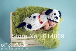 free shipping,Lovely Baby Infant Puppy Dog Knitted Costume Photo Photography Prop Newborn hat+blanket(China (Mainland))