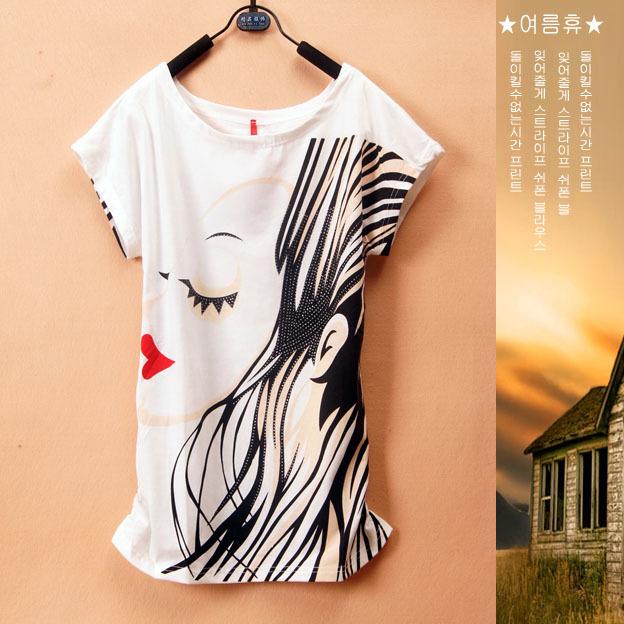 Grátis frete lábios vermelhos cabelos longos senhora das mulheres de impressão manga curta soltas de algodão t-shirt tshirt ocasional LB16 um tamanho(China (Mainland))