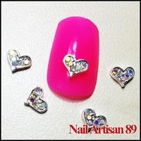 3d Alloy Nail Art Heart Rhinestones Wholesale Nail Accessories 20psc/lot