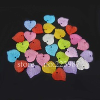 Free shipping 500pcs mixed color multicolor The leaves acrylic beads,15mm long, 15mm wide, 2mm thick, with one hole
