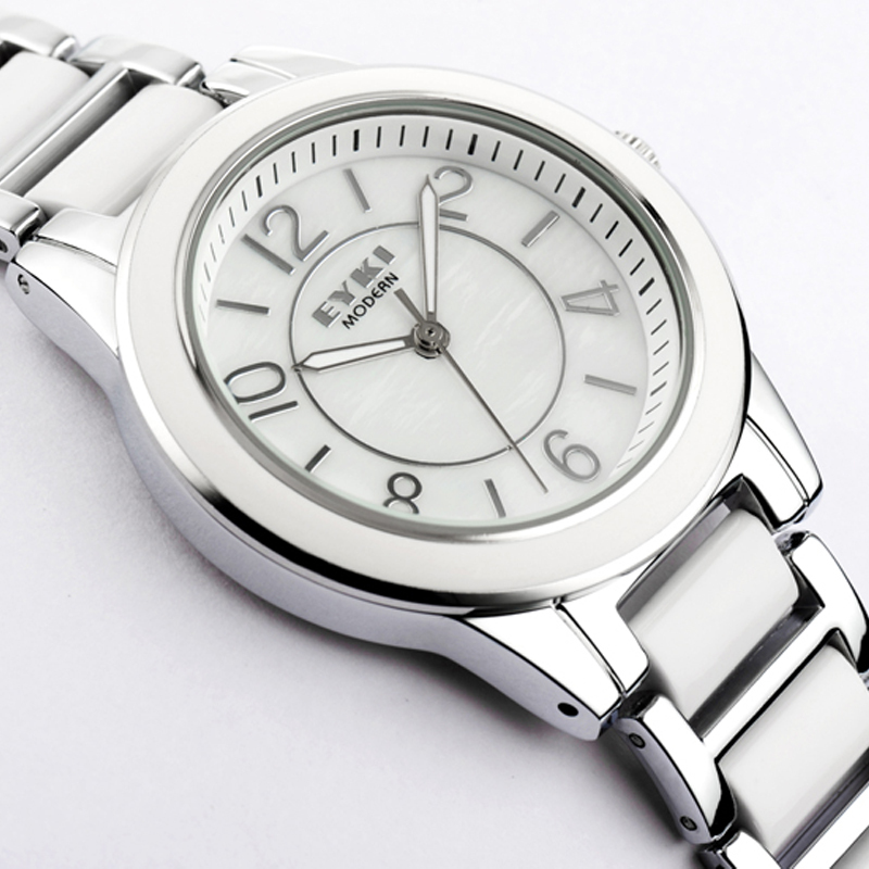 Free shipping Ikey eyki quartz watch fashion watch brief white ceramic table ladies watch 8460(China (Mainland))