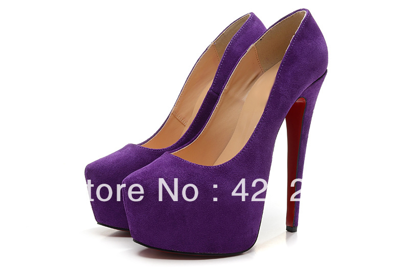 free shipping 2013 hot selling new purple suede lady daffodil 160 pumps ladies high heel sexy red sole platforms shoes(China (Mainland))