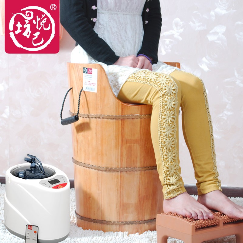 Oak barrels of gynecological fumigation fumigation stool steaming foot barrels hip fumigation detox foot bath barrel(China (Mainland))