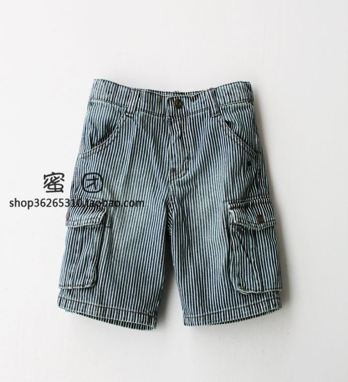 Cattle price child cabbage male child retro finishing stripe denim shorts capris knee-length pants(China (Mainland))
