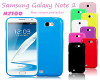 9 colors Jelly Gel TPU Rubber Silicone Soft Case Back Cover For Samsung Galaxy Note 2 N7100-Free Screen Protector