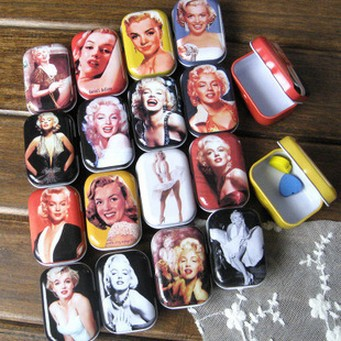 zakka Marylin Monroe Retro Collectables Tin Box Crafts Candy Jar Food Sundries Iron Storage Box Home Decoration Gift 32pcs/set(China (Mainland))