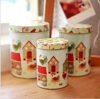 zakka Chickens Round Snack Candy Cookie Jar Tin Box Food Sundries Iron Storage Box Home Decoration Gift 3pcs/set